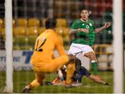 27 March 2018; Reece Grego-Cox of Republic of Ireland sees his shot on goal saved during the UEFA U21 Championship Qualifier match between the Republic of Ireland and Azerbaijan at Tallaght Stadium in Dublin. Photo by Stephen McCarthy/Sportsfile