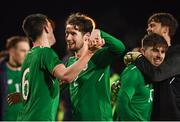 27 March 2018; Republic of Ireland players, from left, Declan Rice, Corey Whelan, Ryan Manning and Kieran O'Hara celebrate following the UEFA U21 Championship Qualifier match between the Republic of Ireland and Azerbaijan at Tallaght Stadium in Dublin. Photo by Stephen McCarthy/Sportsfile
