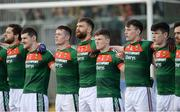 25 March 2018; The Mayo team during the anthem before the Allianz Football League Division 1 Round 7 match between Donegal and Mayo at MacCumhaill Park in Ballybofey, Donegal. Photo by Oliver McVeigh/Sportsfile