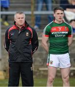 25 March 2018; Mayo Manager Stephen Rochford and Patrick Durcan of Mayo before the Allianz Football League Division 1 Round 7 match between Donegal and Mayo at MacCumhaill Park in Ballybofey, Donegal. Photo by Oliver McVeigh/Sportsfile