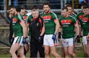 25 March 2018; Mayo manager Stephen Rochford with the Mayo players before the Allianz Football League Division 1 Round 7 match between Donegal and Mayo at MacCumhaill Park in Ballybofey, Donegal. Photo by Oliver McVeigh/Sportsfile