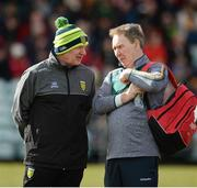 25 March 2018; Donegal manager Declan Bonner with team doctor Dr Kevin Moran, before the Allianz Football League Division 1 Round 7 match between Donegal and Mayo at MacCumhaill Park in Ballybofey, Donegal. Photo by Oliver McVeigh/Sportsfile