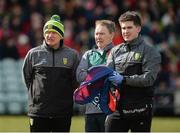 25 March 2018; Donegal manager Declan Bonner with team doctor Dr Kevin Moran and team physiotherapist Cathal Ellis before the Allianz Football League Division 1 Round 7 match between Donegal and Mayo at MacCumhaill Park in Ballybofey, Donegal. Photo by Oliver McVeigh/Sportsfile