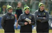 25 March 2018; Donegal manager Declan Bonner, centre, with selectors Karl Lacey, left, and Paul McGonigle before the Allianz Football League Division 1 Round 7 match between Donegal and Mayo at MacCumhaill Park in Ballybofey, Donegal. Photo by Oliver McVeigh/Sportsfile