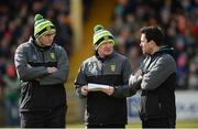 25 March 2018; Donegal manager Declan Bonner, centre, with selector Paul McGonigle, left, and team physiotherapist Cathal Ellis before the Allianz Football League Division 1 Round 7 match between Donegal and Mayo at MacCumhaill Park in Ballybofey, Donegal. Photo by Oliver McVeigh/Sportsfile