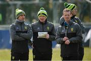 25 March 2018; Donegal manager Declan Bonner, centre, with selectors Karl Lacey, left, John McElholm and Paul McGonigle before the Allianz Football League Division 1 Round 7 match between Donegal and Mayo at MacCumhaill Park in Ballybofey, Donegal. Photo by Oliver McVeigh/Sportsfile
