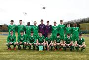 29 March 2018; The Republic of Ireland squad, back row, from left, Adam O'Connor, James Carroll, Peter Adigun, Ali Regbha, Daniel Houghton, Luke McNicholas, Adam Rooney, Adam Conway and Lido Lofeta, with, front row, Kieran Farren, Darryl Walsh, Rory Doyle, Cian Murphy, Cian Lee, Liam Kerrigan, Ronan Manning and Jack Ryan prior to the Centenary Shield match between the Republic of Ireland Schools and Northern Ireland Schools at Monaghan United FC in Gortakeegan, Monaghan. Photo by Stephen McCarthy/Sportsfile