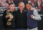 29 March 2018; Ryan Burnett, left, with WBA President Gilberto Mendoza, centre, and Yonfrez Parejo during a press conference at City Hall in Cardiff, Wales. Photo by Lawrence Lustig / Matchroom Boxing via Sportsfile