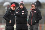 25 March 2018; Tyrone manager Mickey Harte, left, with assistant manager Gavin Devlin and selector Stephen O'Neill, right, prior to the Allianz Football League Division 1 Round 7 match between Tyrone and Kerry at Healy Park in Omagh, Tyrone. Photo by Brendan Moran/Sportsfile