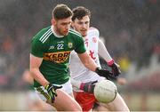 25 March 2018; Éanna Ó Conchúir of Kerry in action against Rory Brennan of Tyrone during the Allianz Football League Division 1 Round 7 match between Tyrone and Kerry at Healy Park in Omagh, Tyrone. Photo by Brendan Moran/Sportsfile