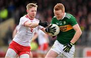 25 March 2018; Johnny Buckley of Kerry in action against Frank Burns of Tyrone during the Allianz Football League Division 1 Round 7 match between Tyrone and Kerry at Healy Park in Omagh, Tyrone. Photo by Brendan Moran/Sportsfile