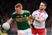 25 March 2018; Johnny Buckley of Kerry in action against Ronan McNamee of Tyrone during the Allianz Football League Division 1 Round 7 match between Tyrone and Kerry at Healy Park in Omagh, Tyrone. Photo by Brendan Moran/Sportsfile