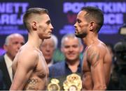 30 March 2018; Ryan Burnett, left, and Yonfrez Parejo square off after weighing in at the Motor Point Arena in Cardiff, Wales. Photo by Lawrence Lustig / Matchroom Boxing via Sportsfile