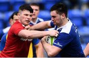 30 March 2018; Conor O'Brien of Leinster A is tackled by Calvin Nash of Munster A during the British & Irish Cup Quarter-Final match between Leinster A and Munster A at Energia Park in Donnybrook, Dublin. Photo by Ramsey Cardy/Sportsfile