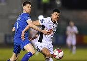 30 March 2018; Courtney Duffus of Waterford FC in action against Killian Cantwell of Limerick FC during the SSE Airtricity League Premier Division match between Limerick and Waterford at Market's Field in Limerick. Photo by Matt Browne/Sportsfile