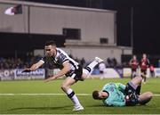 30 March 2018; Shane Supple of Bohemians saves from Michael Duffy of Dundalk during the SSE Airtricity League Premier Division match between Dundalk and Bohemians at Oriel Park in Louth. Photo by Stephen McCarthy/Sportsfile