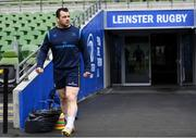 31 March 2018; Cian Healy arrives for the Leinster Rugby captain's run at the Aviva Stadium in Dublin. Photo by Ramsey Cardy/Sportsfile