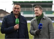 31 March 2018; Former Connacht head coach and current Bristol Rugby head coach Pat Lam, left, with former Leinster and Ireland captain Brian O'Driscoll prior to the European Rugby Challenge Cup Quarter-Final match between Connacht and Gloucester at the Sportsground in Galway. Photo by Seb Daly/Sportsfile
