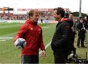 31 March 2018; Munster forwards coach Jerry Flannery in conversation with RC Toulon head coach Fabien Galthié prior to the European Rugby Champions Cup quarter-final match between Munster and RC Toulon at Thomond Park in Limerick. Photo by Diarmuid Greene/Sportsfile