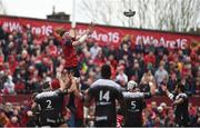 31 March 2018; Peter O'Mahony of Munster wins possession in a lineout during the European Rugby Champions Cup quarter-final match between Munster and RC Toulon at Thomond Park in Limerick. Photo by Diarmuid Greene/Sportsfile