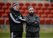 31 March 2018; Tipperary selectors Brian Lacey, left, and Shane Stapleton prior to the Allianz Football League Roinn 2 Round 6 match between Down and Tipperary at Páirc Esler in Newry, Co Down. Photo by Oliver McVeigh/Sportsfile