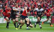31 March 2018; Jack O'Donoghue of Munster is tackled by Duane Vermeulen, left, and Anthony Belleau of RC Toulon during the European Rugby Champions Cup quarter-final match between Munster and RC Toulon at Thomond Park in Limerick. Photo by Brendan Moran/Sportsfile
