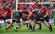 31 March 2018; Jean Kleyn is tackled by Facundo Isa, left, and Marcel Van Der Merwe of RC Toulon during the European Rugby Champions Cup quarter-final match between Munster and RC Toulon at Thomond Park in Limerick. Photo by Diarmuid Greene/Sportsfile