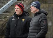 31 March 2018; Down Manager Eamon Burns, left, and Conor Deegan, former Down All Ireland medal winner during the Allianz Football League Roinn 2 Round 6 match between Down and Tipperary at Páirc Esler in Newry, Co Down. Photo by Oliver McVeigh/Sportsfile