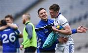 31 March 2018; Gary Walsh of Laois, left, congratulates team mate Graham Brody following the Allianz Football League Division 4 Final match between Carlow and Laois at Croke Park in Dublin. Photo by David Fitzgerald/Sportsfile