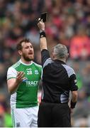 31 March 2018; Seán Quigley of Fermanagh reacts to being shown the black card by referee James Molloy during the Allianz Football League Division 3 Final match between Armagh and Fermanagh at Croke Park in Dublin. Photo by Piaras Ó Mídheach/Sportsfile