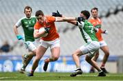 31 March 2018; Charlie Vernon of Armagh in action against James McMahon of Fermanagh during the Allianz Football League Division 3 Final match between Armagh and Fermanagh at Croke Park in Dublin. Photo by David Fitzgerald/Sportsfile