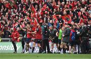 31 March 2018; Munster players including Conor Murray, Jean Kleyn, Simon Zebo, JJ Hanrahan, and Jack O'Donoghue celebrate during the final seconds of the European Rugby Champions Cup quarter-final match between Munster and RC Toulon at Thomond Park in Limerick. Photo by Diarmuid Greene/Sportsfile