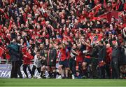 31 March 2018; Munster players including Simon Zebo, JJ Hanrahan, Dave Kilcoyne, Conor Murray, Stephen Archer, and Jean Kleyn, and team manager Niall O'Donovan celebrate during the final seconds of the European Rugby Champions Cup quarter-final match between Munster and RC Toulon at Thomond Park in Limerick. Photo by Diarmuid Greene/Sportsfile