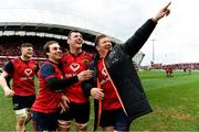 31 March 2018; Munster players, from left, Jack O'Donoghue, James Hart, Robin Copeland and Stephen Archer celebrate after the European Rugby Champions Cup quarter-final match between Munster and RC Toulon at Thomond Park in Limerick. Photo by Brendan Moran/Sportsfile