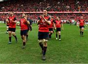 31 March 2018; Munster players, including, from left, Jean Kleyn, Rhys Marshall and Billy Holland celebrate after the European Rugby Champions Cup quarter-final match between Munster and RC Toulon at Thomond Park in Limerick. Photo by Brendan Moran/Sportsfile