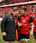 31 March 2018; Stephen Archer and Peter O'Mahony of Munster celebrate after the European Rugby Champions Cup quarter-final match between Munster and RC Toulon at Thomond Park in Limerick. Photo by Diarmuid Greene/Sportsfile