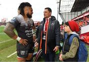 31 March 2018; Ma'a Nonu of RC Toulon, left, with Munster Head of Commercial & Marketing Doug Howlett after the European Rugby Champions Cup quarter-final match between Munster and RC Toulon at Thomond Park in Limerick. Photo by Brendan Moran/Sportsfile