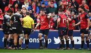 31 March 2018; Munster captain Peter O'Mahony speaks to referee Nigel Owens during the European Rugby Champions Cup quarter-final match between Munster and RC Toulon at Thomond Park in Limerick. Photo by Brendan Moran/Sportsfile
