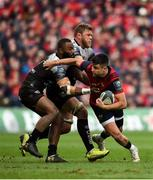 31 March 2018; Conor Murray of Munster is tackled by Semi Radradra and Duane Vermeulen of RC Toulon during the European Rugby Champions Cup quarter-final match between Munster and RC Toulon at Thomond Park in Limerick. Photo by Diarmuid Greene/Sportsfile