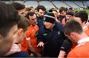31 March 2018; Armagh manager Kieran McGeeney speaks to his players following the Allianz Football League Division 3 Final match between Armagh and Fermanagh at Croke Park in Dublin. Photo by David Fitzgerald/Sportsfile