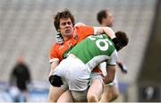 31 March 2018; Andrew Murnin of Armagh tussles with Daniel Teague of Fermanagh during the Allianz Football League Division 3 Final match between Armagh and Fermanagh at Croke Park in Dublin. Photo by David Fitzgerald/Sportsfile