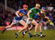 31 March 2018; Dan Morrissey of Limerick in action against Billy McCarthy, left, and John McGrath of Tipperary during the Allianz Hurling League Division 1 semi-final match between Tipperary and Limerick at Semple Stadium in Thurles, Tipperary. Photo by Stephen McCarthy/Sportsfile
