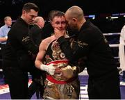 31 March 2018; Ryan Burnett, with trainer Adam Booth, following victory over Yonfrez Parejo during their WBA World Bantamweight bout at Principality Stadium in Cardiff, Wales. Photo by Lawrence Lustig / Matchroom Boxing via Sportsfile