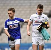 31 March 2018; Ross Munnelly, left, and Graham Brody of Laois during the Allianz Football League Division 4 Final match between Carlow and Laois at Croke Park in Dublin. Photo by David Fitzgerald/Sportsfile