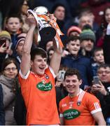 31 March 2018; Niall Grimley of Armagh lifts the trophy following the Allianz Football League Division 3 Final match between Armagh and Fermanagh at Croke Park in Dublin. Photo by David Fitzgerald/Sportsfile