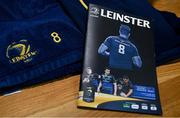 1 April 2018; The match programme, with recently retired Leinster player Jamie Heaslip on the cover, sits in the Leinster dressing room ahead of the European Rugby Champions Cup quarter-final match between Leinster and Saracens at the Aviva Stadium in Dublin. Photo by Ramsey Cardy/Sportsfile