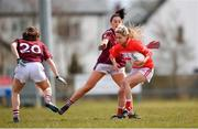 1 April 2018; Orla Finn of Cork in action against Charlotte Cooney  of Galway during the Lidl Ladies Football National League Division 1 Round 7 match between Galway and Cork at Clonberne GAA Pitch in Ballinasloe, Co Galway. Photo by Eóin Noonan/Sportsfile