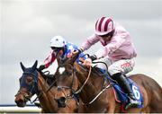1 April 2018; Lackaneen Leader, with Davy Russell up, right, on their way to finishing second alongside eventual third place Alletrix, with Robbie Power up, during the Irish Stallion Farms EBF Mares Novice Hurdle Championship Final on Day 1 of the Fairyhouse Easter Festival at Fairyhouse Racecourse in Ratoath, Co Meath. Photo by Seb Daly/Sportsfile
