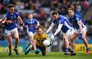 1 April 2018; Enda Smith of Roscommon in action against Cavan players, from left, Ciaran Brady, Niall Murray and Padraig Faulkner during the Allianz Football League Division 2 Final match between Cavan and Roscommon at Croke Park in Dublin. Photo by Stephen McCarthy/Sportsfile