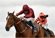 1 April 2018; Pallasator, left, with Davy Russell up, leads Jets, behind, with Robbie Power up, on their way to winning the Underwriting Exchange Novice Hurdle on Day 1 of the Fairyhouse Easter Festival at Fairyhouse Racecourse in Ratoath, Co Meath. Photo by Seb Daly/Sportsfile